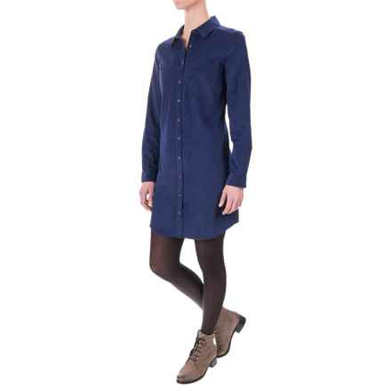 G.H. Bass & Co. Lightweight Corduroy Dress - Button Front, Long Sleeve (For Women) in Deep Navy - Closeouts