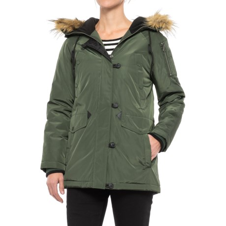 G.H. Bass & Co. Long Hooded Parka - Insulated (For Women) in Army Green