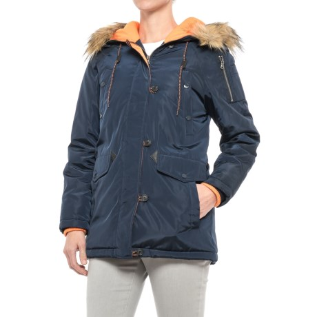 G.H. Bass & Co. Long Hooded Parka - Insulated (For Women) in Navy