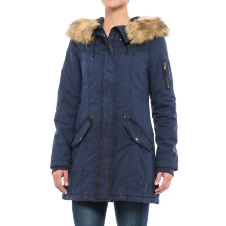 G.H. Bass & Co. Long Hooded Swing Coat - Insulated (For Women) in Navy