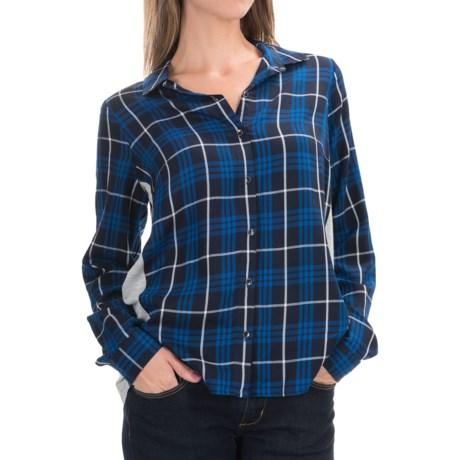 G.H. Bass & Co. Mixed Media Shirt - Long Sleeve (For Women) in Deep Navy Combo