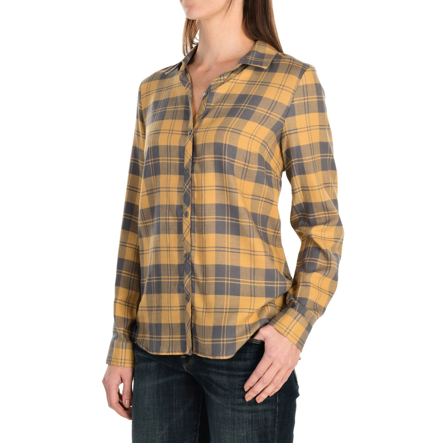 G h bass co plaid shirt for women save 83 for Plaid shirt long sleeve