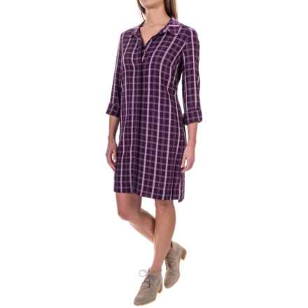 G.H. Bass & Co. Plaid Shirt Dress - Liner Dress, Long Sleeve (For Women) in Soft Lilac - Closeouts