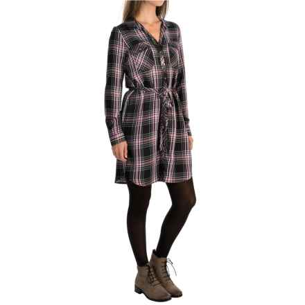 G.H. Bass & Co. Plaid Tie-Belt Dress - Long Sleeve (For Women) in Black Plum Combo - Closeouts