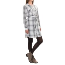 G.H. Bass & Co. Plaid Tie-Belt Dress - Long Sleeve (For Women) in Soft White Combo - Closeouts