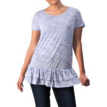 G.H. Bass & Co. Space-Dyed Peplum Tunic Shirt - Short Sleeve (For Women) in Black Combo - Closeouts