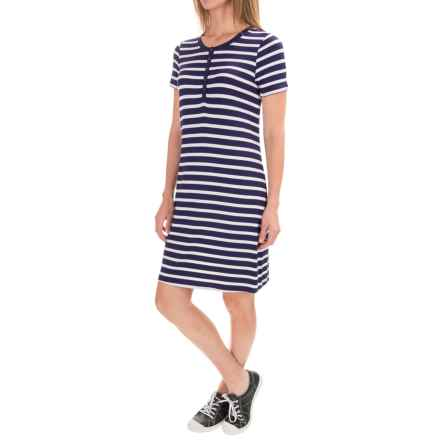 G.H. Bass & Co. Stripe Jersey Dress - Short Sleeve (For Women) in Navy Water Combo - Closeouts