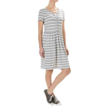 G.H. Bass & Co. Striped Viscose Dress - Scoop Neck, Short Sleeve (For Women) in Dark Heather Combo - Closeouts
