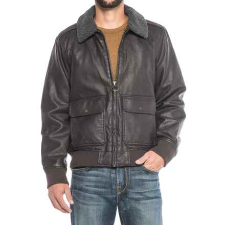 G.H. Bass & Co. Vegan-Leather Aviator Bomber Jacket - Insulated, Removable Sherpa Collar (For Men) in Dark Brown - Closeouts