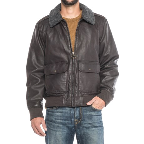 G.H. Bass & Co. Vegan-Leather Aviator Bomber Jacket - Insulated, Removable Sherpa Collar (For Men) in Dark Brown