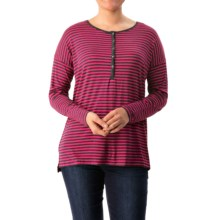 G.H. Bass & Co. Viscose Striped Shirt - Long Sleeve (For Women) in Hibiscus Combo - Closeouts