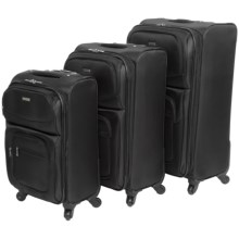 "G.H. Bass & Co. Westport 3-Piece Spinner Suitcase Set - 21"", 25"", 29"" in Black - Closeouts"