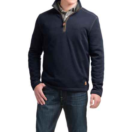 G.H. Bass & Co. Zip Neck Fleece Sweater (For Men) in Blue Night Sky Heather - Closeouts