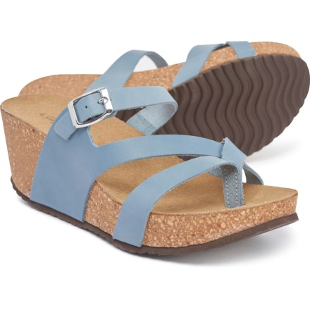 4084e5dd3f8f GIANETTI Made in Italy Asymmetrical Toe Wedge Sandals - Leather (For Women)  in Blue