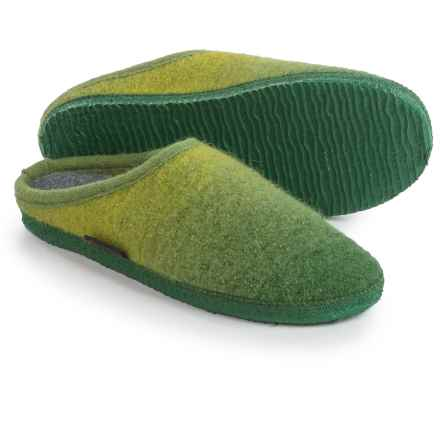Giesswein Alm Boiled Wool Slippers (For Men and Women) in Green - Closeouts