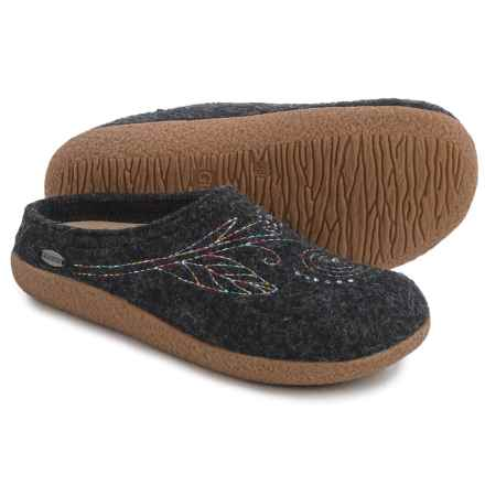 Giesswein Bella Boiled Wool Slippers (For Women) in Charcoal - Closeouts