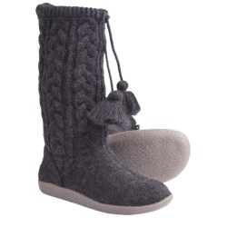 Giesswein Bruck Lodge Slippers - Boiled Wool (For Women) in Charcoal