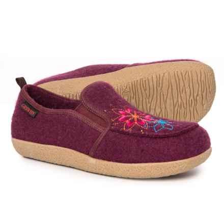 Giesswein Clara Boiled Wool Slippers (For Women) in Bordeaux