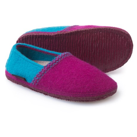 Giesswein Gretchen Boiled Wool Slippers (For Women) in Berry