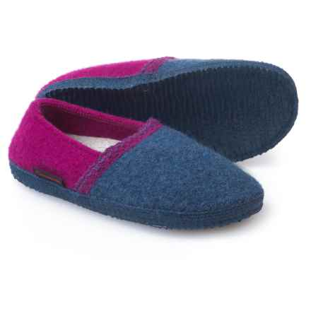 Giesswein Gretchen Boiled Wool Slippers (For Women) in Jeans - Closeouts