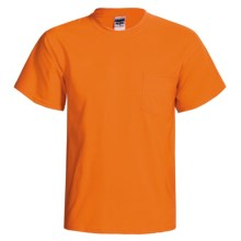 Gildan 50/50 Pocket T-Shirt - Short Sleeve (For Men and Women) in Fluorescent Orange - 2nds