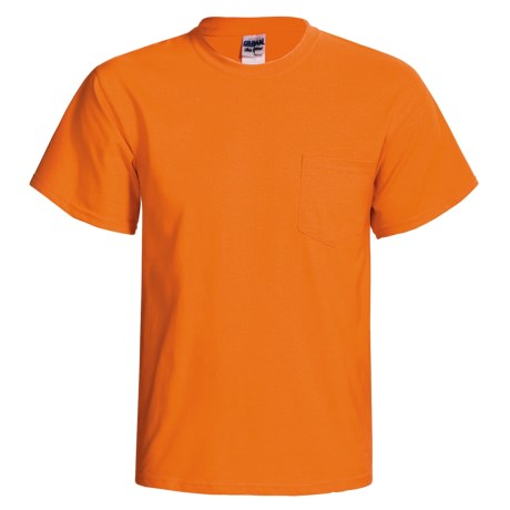 Gildan 50/50 Pocket T-Shirt - Short Sleeve (For Men and Women) in Fluorescent Orange