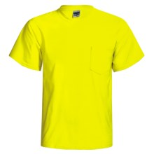 Gildan 50/50 Pocket T-Shirt - Short Sleeve (For Men and Women) in Fluorescent Yellow - 2nds