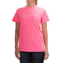 Gildan 50/50 Pocket T-Shirt - Short Sleeve (For Men and Women) in Pink Heather - 2nds