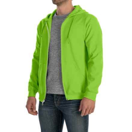 Gildan 7.5 oz. 50/50 Hoodie - Zip (For Men and Women) in Fluorescent Yellow - 2nds