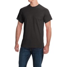 Gildan Cotton T-Shirt - Front Pocket, Short Sleeve (For Men and Women) in Black - 2nds