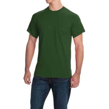 Gildan Cotton T-Shirt - Front Pocket, Short Sleeve (For Men and Women) in Dark Green - 2nds