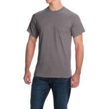 Gildan Cotton T-Shirt - Front Pocket, Short Sleeve (For Men and Women) in Dark Grey - 2nds