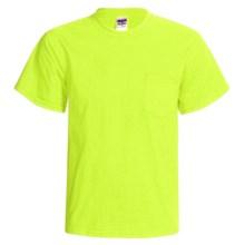 Gildan Cotton T-Shirt - Front Pocket, Short Sleeve (For Men and Women) in Flourescent Yellow - 2nds