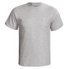 Gildan Cotton T-Shirt - Front Pocket, Short Sleeve (For Men and Women) in Grey Heather - 2nds