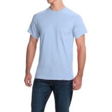 Gildan Cotton T-Shirt - Front Pocket, Short Sleeve (For Men and Women) in Light Blue - 2nds