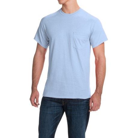 Gildan Cotton T-Shirt - Front Pocket, Short Sleeve (For Men and Women) in Light Blue