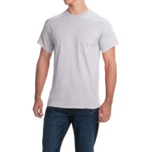 Gildan Cotton T-Shirt - Front Pocket, Short Sleeve (For Men and Women) in Light Grey Heather - 2nds