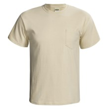 Gildan Cotton T-Shirt - Front Pocket, Short Sleeve (For Men and Women) in Light Tan - 2nds