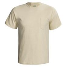 Gildan Cotton T-Shirt - Front Pocket, Short Sleeve (For Men and Women) in Light Tan - 2nds