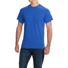Gildan Cotton T-Shirt - Front Pocket, Short Sleeve (For Men and Women) in Medium Blue - 2nds