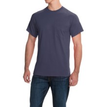 Gildan Cotton T-Shirt - Front Pocket, Short Sleeve (For Men and Women) in Navy - 2nds