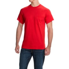 Gildan Cotton T-Shirt - Front Pocket, Short Sleeve (For Men and Women) in Red - 2nds