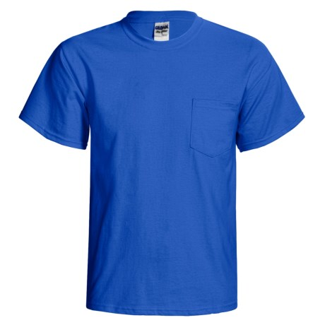 Gildan Cotton T-Shirt - Front Pocket, Short Sleeve (For Men and Women) in Royal Blue