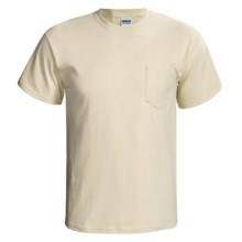 Gildan Cotton T-Shirt - Front Pocket, Short Sleeve (For Men and Women) in Tan - 2nds