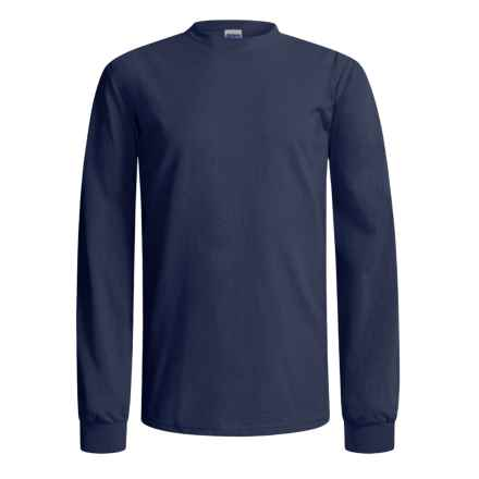 Gildan Cotton T-Shirt - Long Sleeve (For Men and Women) in Dark Blue - 2nds