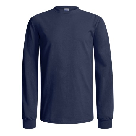 Gildan Cotton T-Shirt - Long Sleeve (For Men and Women) in Dark Blue