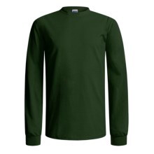 Gildan Cotton T-Shirt - Long Sleeve (For Men and Women) in Dark Green - 2nds