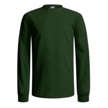 Gildan Cotton T-Shirt - Long Sleeve (For Men and Women) in Dark Green - 2nds