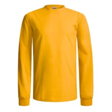 Gildan Cotton T-Shirt - Long Sleeve (For Men and Women) in Gold - 2nds