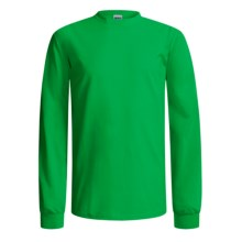 Gildan Cotton T-Shirt - Long Sleeve (For Men and Women) in Green - 2nds